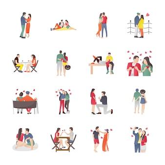 Dating und abendessen paare icons set