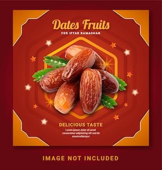 Datteln früchte für iftar ramadan post social media vorlage