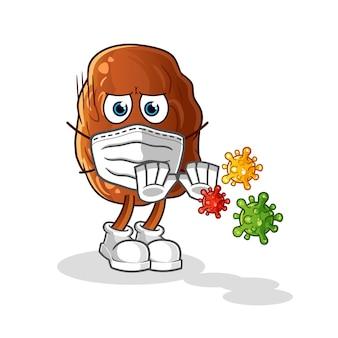 Datum frucht verweigern viren cartoon illustration