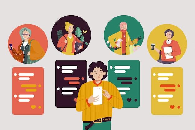 Datumsanwendung, junge halten smartphone in der hand, illustration. kommunikations-app zum dating und paar im internet finden.