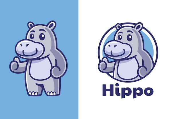 Daumen hoch nilpferd-maskottchen-logo-design
