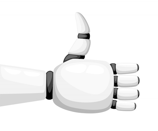 Daumen hoch weiße roboterhand oder roboterarm für prothesenillustration auf weißer hintergrundwebseite und mobiler app