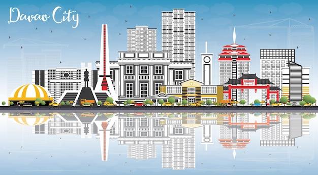 Davao city philippinen skyline mit grauen gebäuden, blauem himmel und reflexionen. vektor-illustration. geschäftsreise- und tourismusillustration mit moderner architektur.