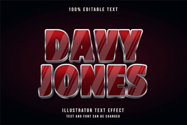Davy jones, 3d bearbeitbarer texteffekt roter gradationsgrau-schattenstil