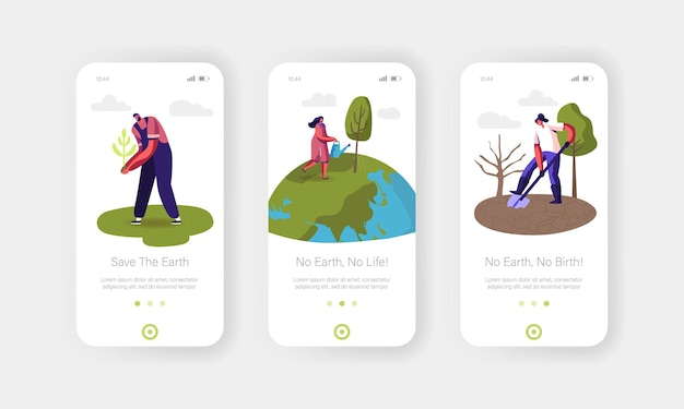 Day of earth mobile app-seitenbildschirmvorlage.
