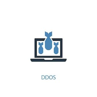Ddos-konzept 2 farbiges symbol. einfache blaue elementillustration. ddos-konzeptsymboldesign. kann für web- und mobile ui/ux verwendet werden