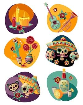 Dead day celebration 6 bunte kompositionen mit verzierten zuckerschädeln masken kerzen tequila gesetzt