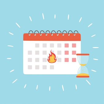 Deadline-banner. kalender mit brennendem datum und sanduhr als symbol für den abschluss eines wichtigen projekts. illustration