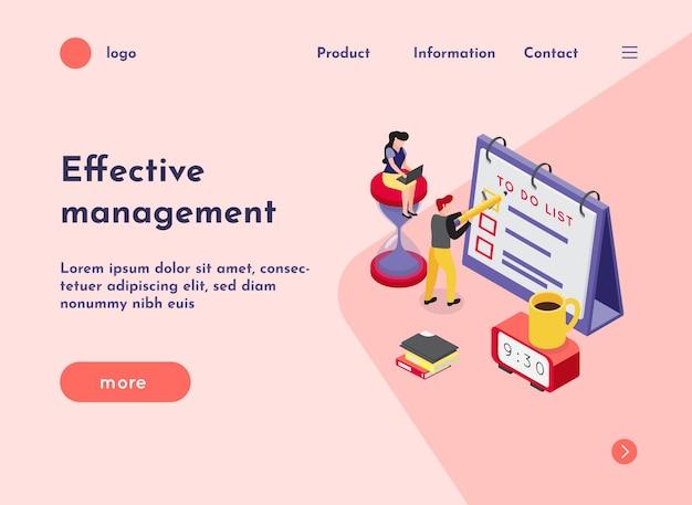 Deadline isometrische website landing page mit zusammensetzung der bilder anklickbaren links text und mehr schaltfläche