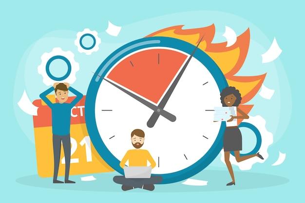 Deadline-konzept. idee von viel arbeit und wenig zeit