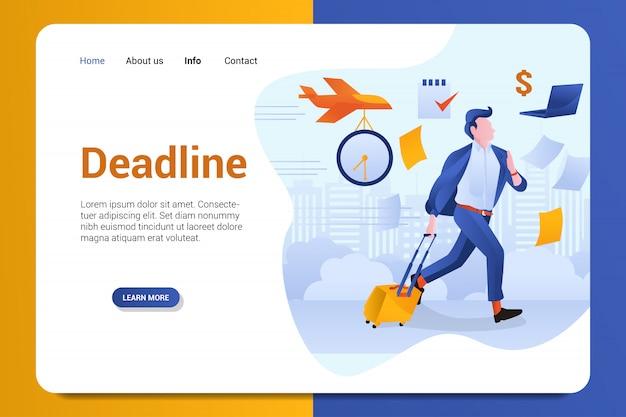 Deadline landing page hintergrund vektor vorlage