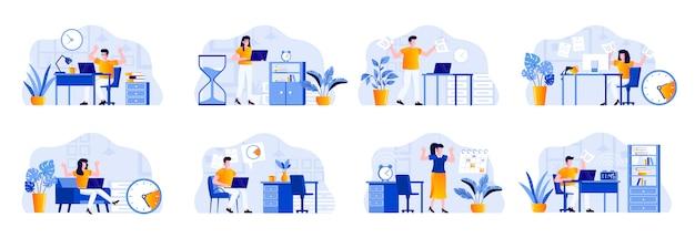 Deadline-szenen werden mit personencharakteren gebündelt. müde mitarbeiter beeilen sich am arbeitsplatz, in einer stressigen situation und bei überstunden. zeitmanagement und effektivität flache illustration.