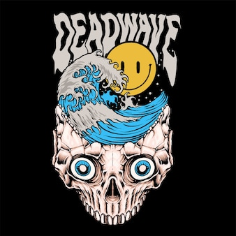 Deadwave-smiley mit wellen