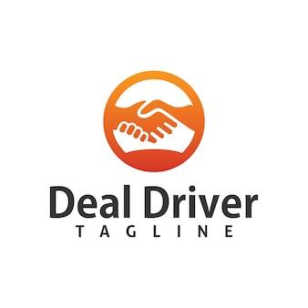 Deal driving job logo design template element mit handshake illustration