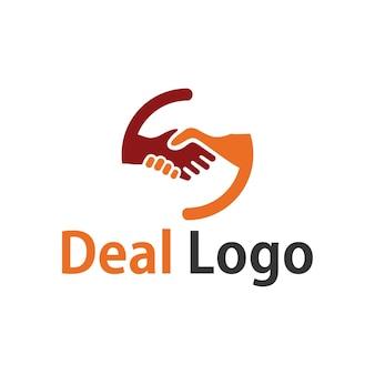 Deal-logo-design mit handshake-illustration