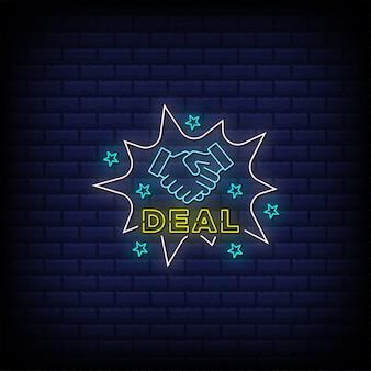 Deal neonschilder stil text