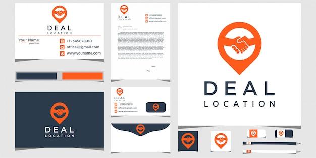 Deal pin logo design mit briefpapier