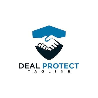 Deal schützen logo-design-vorlagenelement