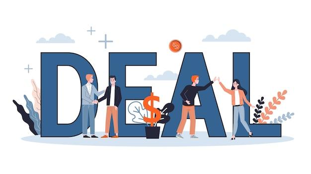 Deal web-banner-konzept. zwei personen geben sich aufgrund einer einigung die hand. erfolgreiche zusammenarbeit. glücklicher geschäftsmann. illustration