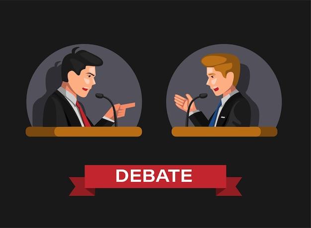 Debatte in präsidentschaftswahlen oder gesetz und geschäftstätigkeit symbol im cartoon