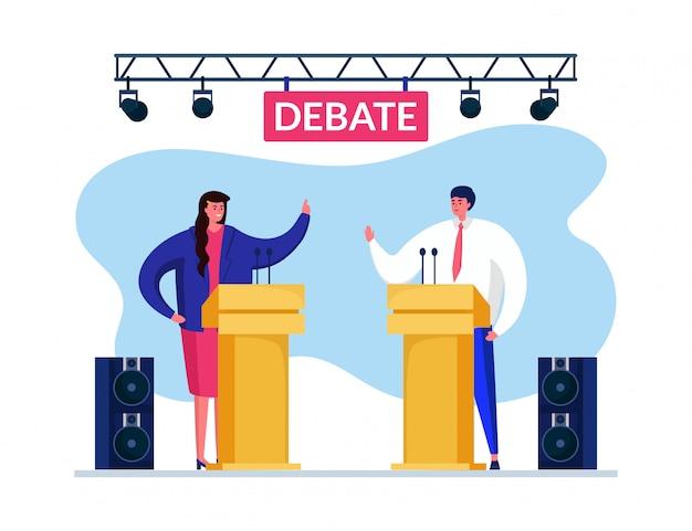 Debatte über die rede der debatte. mann frau, die streit hat, um wähler ihre seite anzuziehen. lautsprecher heben die hände.