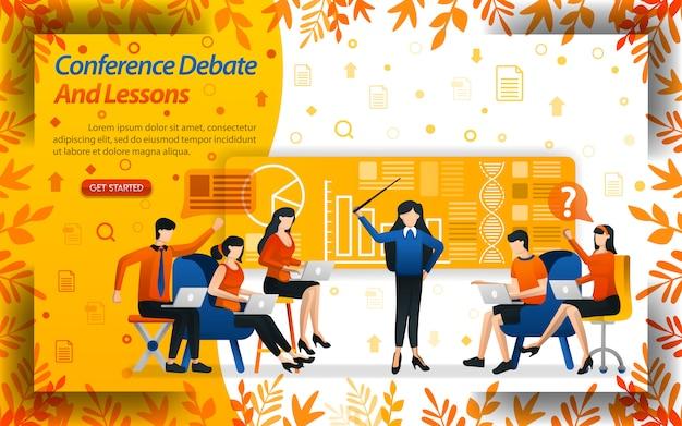Debatte und unterrichtskonferenz.