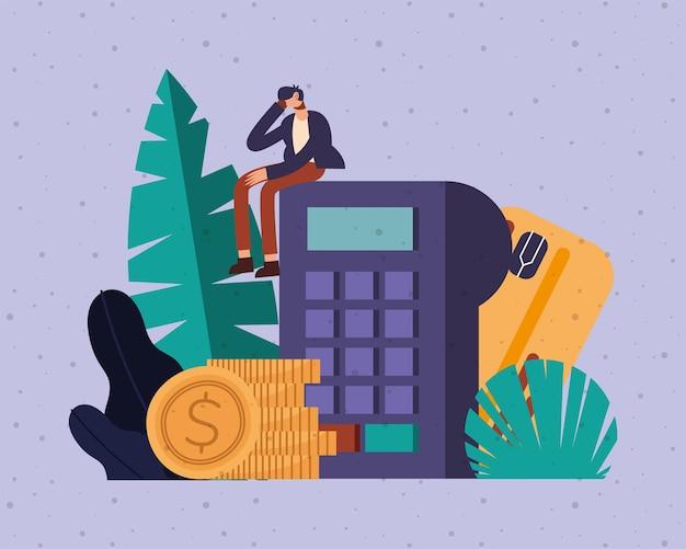 Debit-dataphon-kartenmünzen und mannkarikatur des geldfinanzgeschäfts bankgeschäfts und der marktthemenillustration