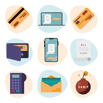 Debit icon sammlung von geld finanzgeschäft bankgeschäft und marktthema illustration