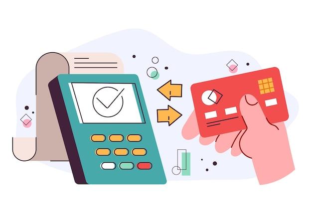 Debit-kreditkarte, die mit dem elektronischen terminalleser verbunden ist
