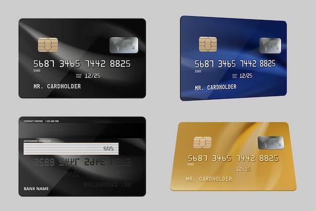 Debitkarten. realistische vorlage für finanzkreditkarten aus kunststoff. illustrationsplastikkarte, finanzielle abbuchung für unternehmen