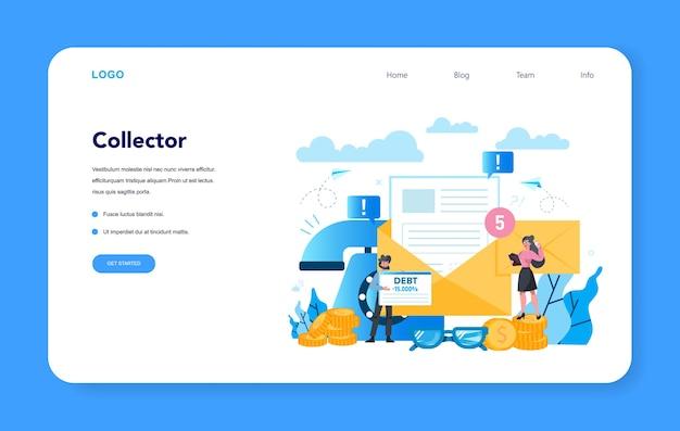 Debt collector web banner oder landing page. zahlung verfolgen
