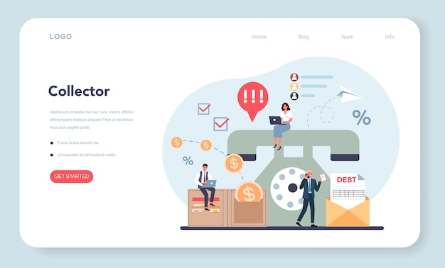 Debt collector web banner oder landing page.