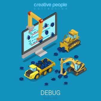 Debug-software-technologie-entwicklungsprogrammiercode flach isometrisch