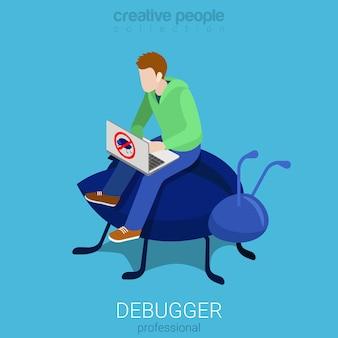 Debugger beruf programmierer code analytische debug-prozess flach isometrisch
