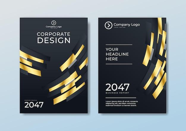 Decken sie die kopf- und fußzeilen der broschürenvorlage mit polygonalem muster im luxusstil auf dunkelblauem und weißem hintergrund mit goldenen linien ab. sie können es für briefpapier, poster, banner-web, print und mehr verwenden