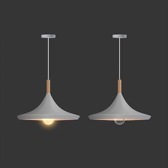 Deckengraue lampe. die lampe ist auf einem schwarzen hintergrund isoliert.