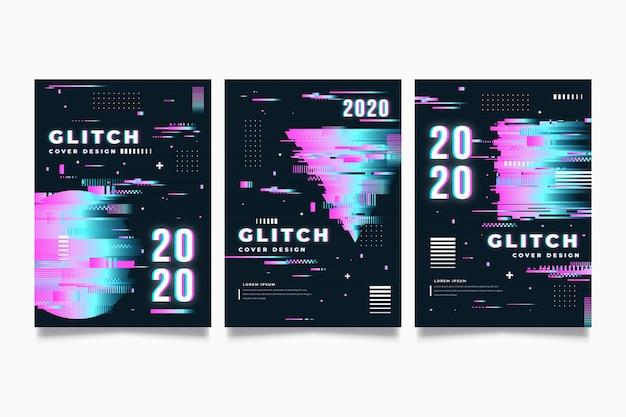 Deckt die sammlung mit glitch-effekt ab