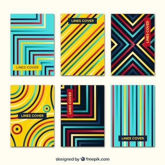 Deckt Sammlung mit Farben und Linien ab