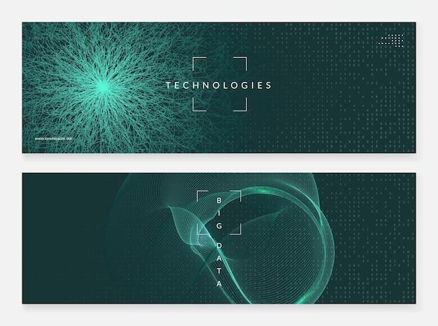 Deep-learning-konzept. abstrakter hintergrund der digitaltechnik. künstliche intelligenz und big data. tech-visual für cloud-vorlage. fraktales deep-learning-hintergrund.