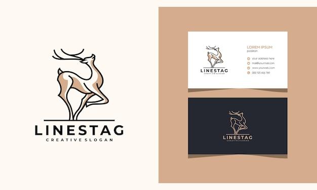 Deer antilope stag minimalistisches kreatives logo-design mit visitenkarte