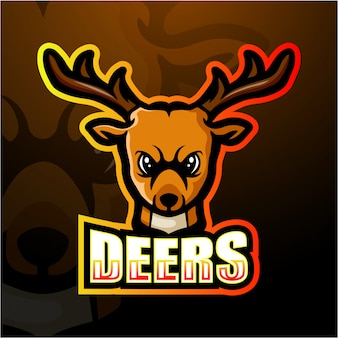 Deer head maskottchen esport illustration