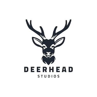 Deer head studio logo design illustration