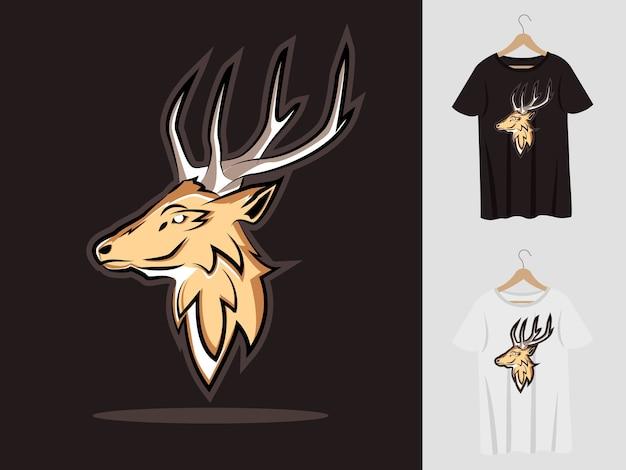 Deer logo maskottchen design mit t-shirt. hirschkopfillustration für sportmannschaft und bedrucktes t-shirt