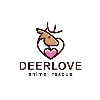 Deer love heart line logo design