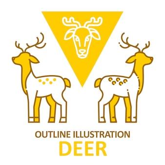 Deer umriss stil.
