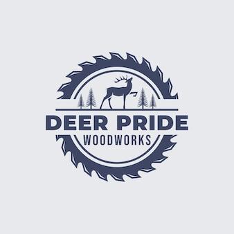 Deer woodworking logo