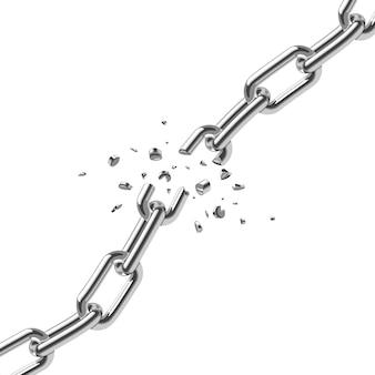 Defekte stahlkette verbindet freiheitskonzept. starke stahlillustration der störung