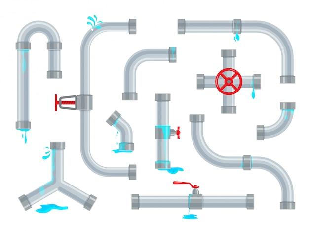 Defekte und undichte wasserleitungen. sanitärreparaturen. rohrleitungsteile, ventile und rohrleitungen isoliert. set industrieller entwässerungssysteme in einem trendigen flachen stil.