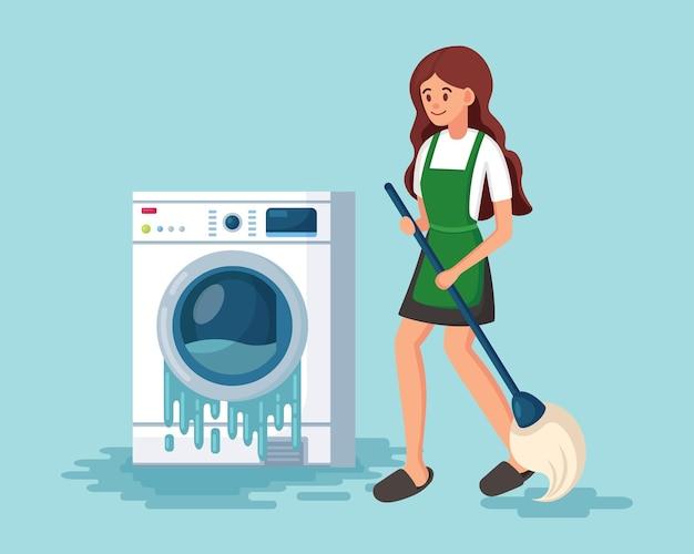 Defekte waschmaschine. beschädigte waschmaschine mit fließendem wasser.