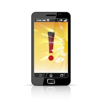 Defektes intelligentes telefon flach symbol